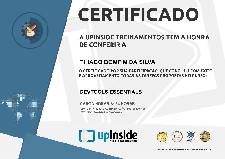 Certificado Thiago Bomfim DEV TOOLS ESSENTIALS