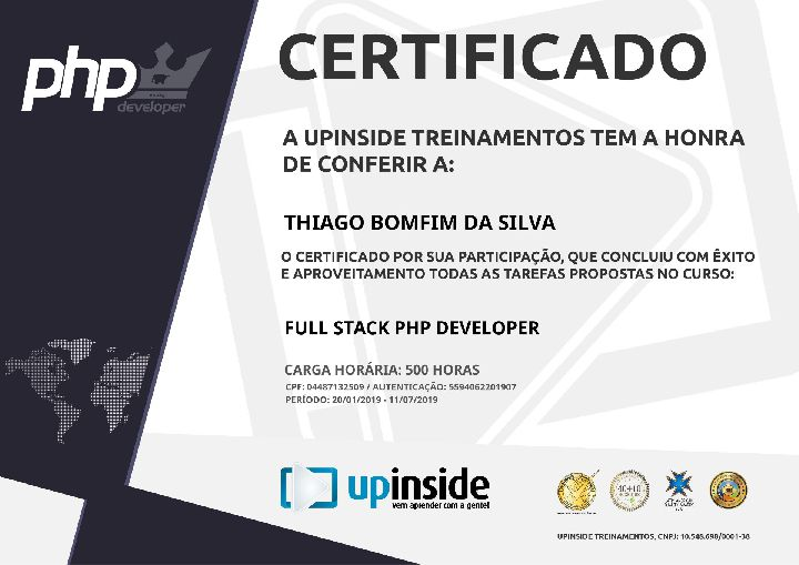 Certificado Thiago Bomfim Full Stack PHP developer